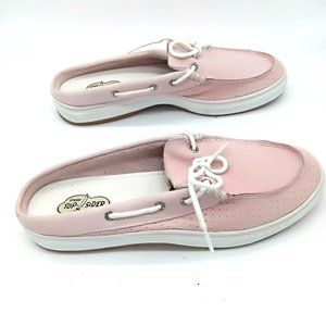 Sperry Top Sider Pink Leather Slip On Deck Mules